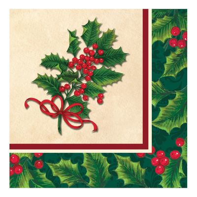 Boughs of Holly Christmas Paper Lunch Napkins, 16ct.