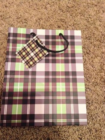Brown and Green Plaid Medium Gift Bag w/ Rope Handle and Attached Plaid Gift Tag