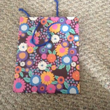 Brown with Multi Colored Flowers Floral Medium Gift Bag with Blue Rope Handle