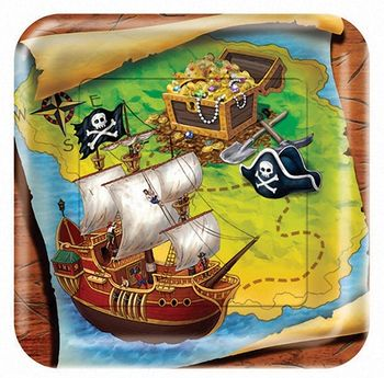 """Buried Treasure 9"""" Square Dinner Plates, 8 count"""
