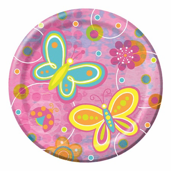 "Butterflies & Flowers 9"" Iridescent Happy Birthday Dinner Plates 8ct."