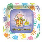 """Cake's On Me 9"""" Luncheon Paper Plate 1st Birthday"""
