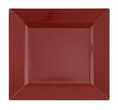 """Candy Apple Red 9.5"""" Square Plastic Dinner Plates 10ct."""