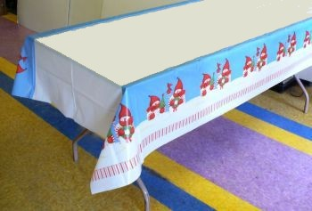 "Candy Cane Snowman Christmas Plastic Tablecloths 54"" x 108"""