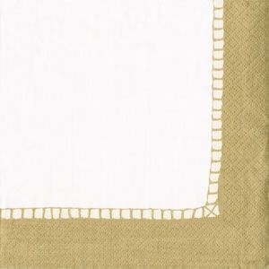 Caspari Gold Border Paper Beverage Napkin 20 count