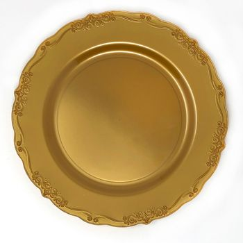 """Casual Collection 10"""" Gold w/ Embellished Rim Plastic Dinner Plates 10ct."""