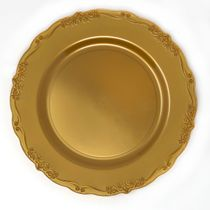 "Casual Collection 10"" Gold w/ Embellished Rim Plastic Dinner Plates 10ct."