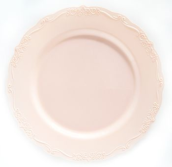 """Casual Collection 10"""" Pink w/ Embellished Rim Plastic Dinner Plates 10ct."""