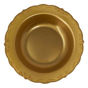 Casual Collection 10oz. Gold w/ Embellished Rim Plastic Soup Bowls 10ct.