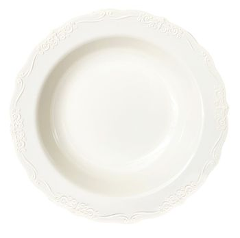 Casual Collection 10oz. Ivory w/ Embellished Rim Plastic Soup Bowls 10ct.