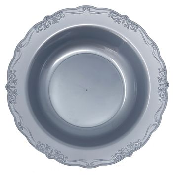 Casual Collection 10oz. Silver w/ Embellished Rim Plastic Soup Bowls 10ct.