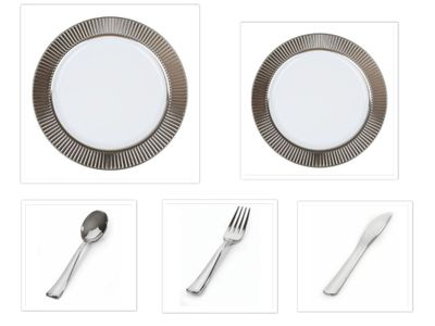 """Celebrations Silver Border 10 1/4"""" Dinner Plates + 7 1/2"""" Salad Plates + Cutlery *Party of 60*"""