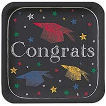 "Chalk It Up Grad 7"" Square Paper Black/Multi color Salad / Cake Plates 8ct."