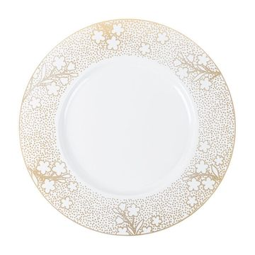 """Cherry Blossom 11.7"""" Floral Gold & White Wedding Plastic Banquet Plates 10ct."""