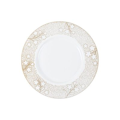 """Cherry Blossom 9"""" Floral Gold & White Wedding Plastic Luncheon Plates 10ct."""