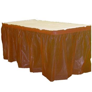 Chocolate Brown Plastic Rectangular Table Skirt 14ft.x29in