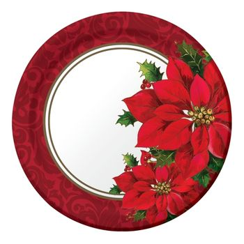 "Christmastime Poinsettia 9"" Luncheon Paper Plates 8ct."