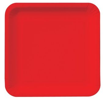 "Classic Red 9"" Square Dinner Plates, 18 ct."