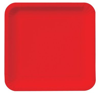 """Classic Red 9"""" Square Dinner Plates, 18 ct."""