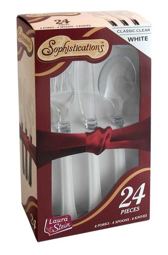 Clear Disposable Plastic Spoons, Forks, Knives with White Handle Combo Cutlery 24ct.