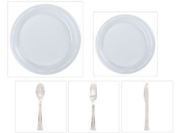 "Clear Plastic 10"" Dinner Plates + 7"" Salad Plates + Cutlery *Case of 100*"