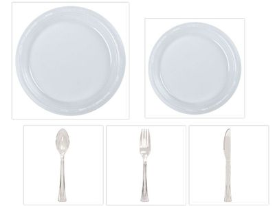 """Clear Plastic 10"""" Dinner Plates + 7"""" Salad Plates + Cutlery *Case of 100*"""