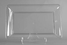 "Clear Plastic Rectangular Tray 10"" x 14"""