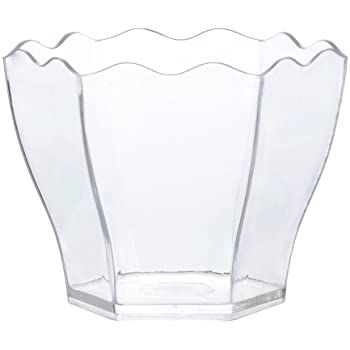 Clear Plastic Small Mini Flower Hexagon Dessert Cup - 10 count