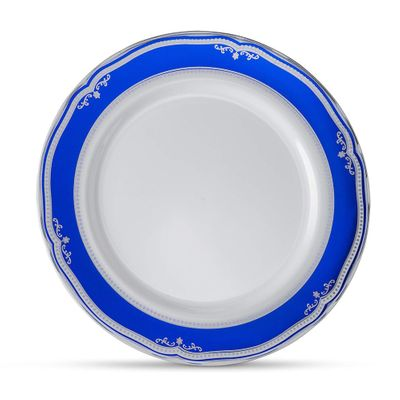 Cobalt Blue / Silver Tableware Set of 32 White Party Plates With Blue & Silver Border/Rim