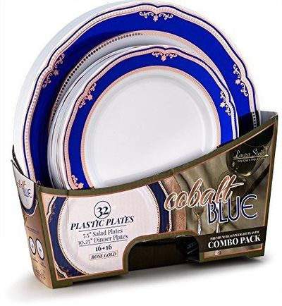 Cobalt Blue / Rose Gold Tableware Set of 32 White Party Plates With Blue & Rose Gold Border/Rim