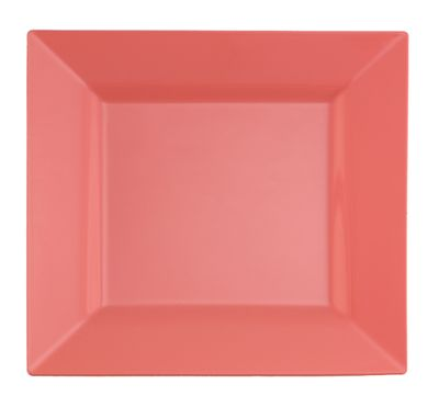 "Coral Blush Peach 9.5"" Square Plastic Dinner Plates 10ct."
