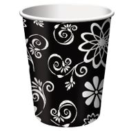 Cosmic Flowers Black / White 9oz. Hot / Cold Paper Cups 8ct.
