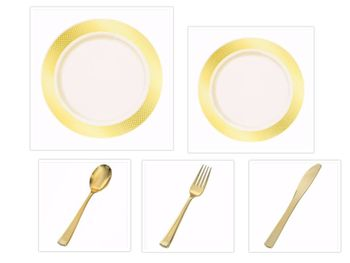 "Crystal Diamond Ivory w/Gold Diamond Border China-Like Plastic 9"" Dinner Plates + 7"" Salad Plates + Cutlery *Party for 100*"
