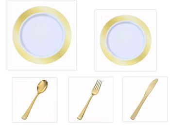 """Crystal Diamond White w/ Gold Diamond Border China-Like Plastic 9"""" Dinner Plates + 7"""" Salad Plates + Cutlery *Party for 100*"""