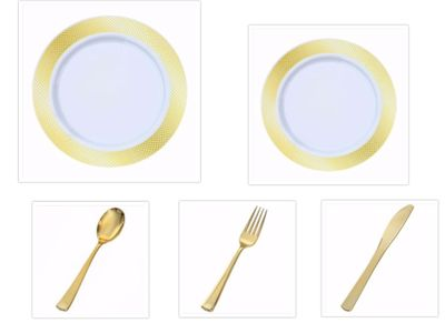 """Crystal Diamond White w/ Gold Diamond Border China-Like Plastic 9"""" Dinner Plates + 7"""" Salad Plates + Cutlery *Party for 40*"""