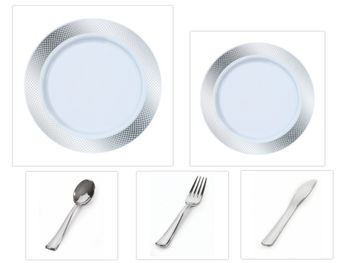 """Crystal Diamond White w/ Silver Diamond Border China-Like Plastic 9"""" Dinner Plates + 7"""" Salad Plates + Cutlery *Party for 100*"""