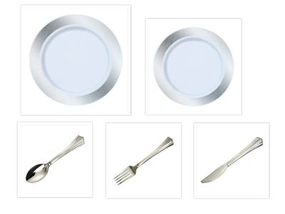 "Crystal Diamond White w/ Silver Diamond Border China-Like Plastic 9"" Dinner Plates + 7"" Salad Plates + Cutlery *Party for 40*"