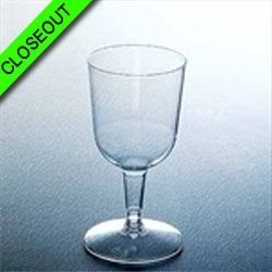 CYBER BLOWOUT!! Clear Plastic 4oz. 2pc. Wine Glasses 12ct.