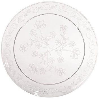 "D'Vine 10"" Clear Plastic Scroll Dinner Plates *Case of 120*"