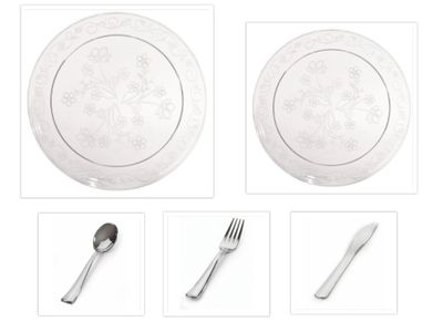"""D'Vine Collection Clear Scrollware 10"""" Dinner Plates + 7"""" Salad Plates + Cutlery *Party for 120*"""