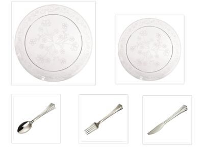 """D'Vine Clear 10"""" Dinner Plates + 7"""" Salad Plates + Cutlery *Party of 40*"""
