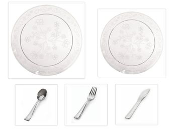 """D'Vine Collection Clear Scrollware 10"""" Dinner Plates + 7"""" Salad Plates + Cutlery *Party for 60*"""