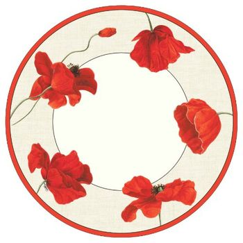 """Dancing Poppies 10"""" Floral Paper Dinner Plate 8ct."""