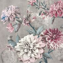 Daria Grey Floral Paper Beverage / Cocktail Napkins 20ct.