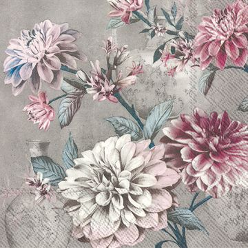 Daria Grey Floral Paper Lunch Napkins 20ct.