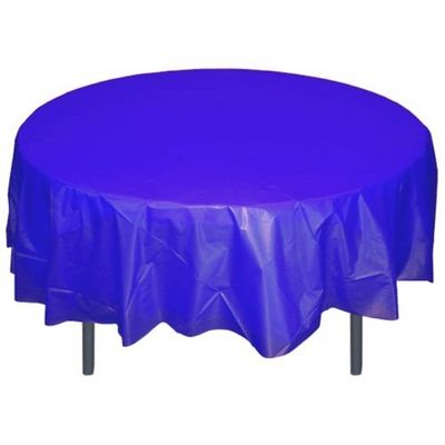 """Dark Blue 84"""" Round Plastic Tablecloths Table Covers"""