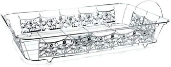 "Silver Decorative ""Full Size"" Aluminum Pan Holder 20.75"" x 12.8"""