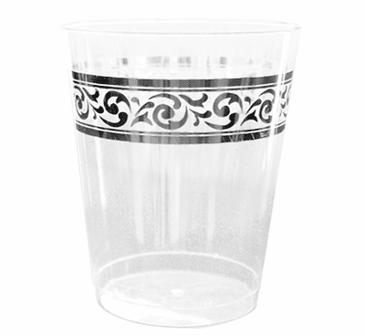 Decorline 10 oz. Clear With Silver Rimmed Plastic Cups 10 Ct.