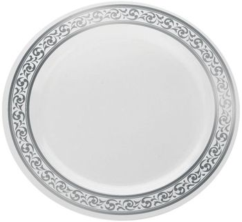 "Decorline 10 1/4"" White With Silver Rimmed Plastic Banquet Plate *Case of 120*"