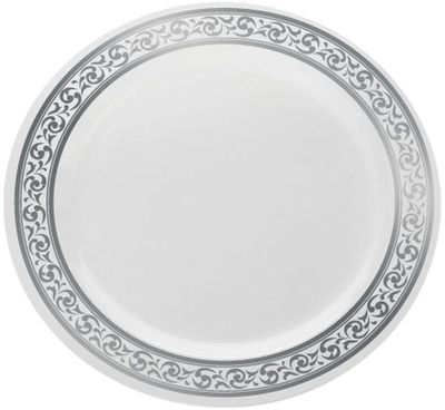 """Decorline 10 1/4"""" White With Silver Rimmed Plastic Banquet Plate *Case of 120*"""